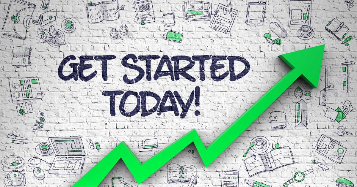 Get started today graphic with green arrow showing growth